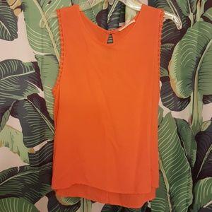 Elodie Mod Orange Tank Top M L Crochet Arm Detail